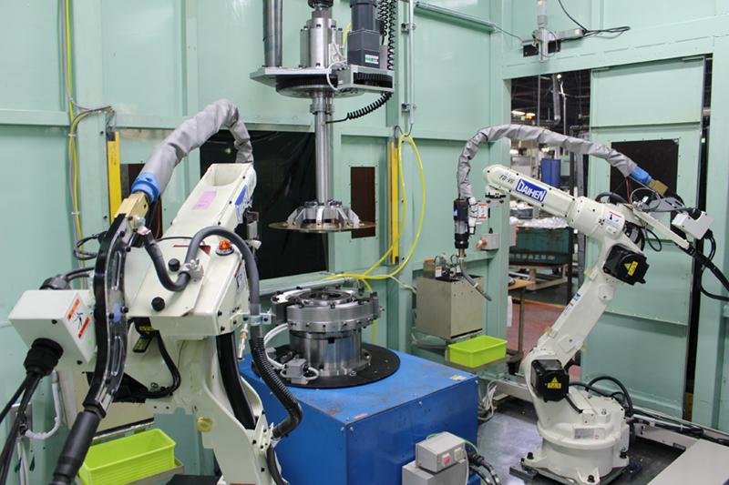 2軸CO2アーク溶接ロボット専用機(低スパッタ)